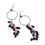 Red Garnet Earrings -  Gemstone Sterling Silver Hoops