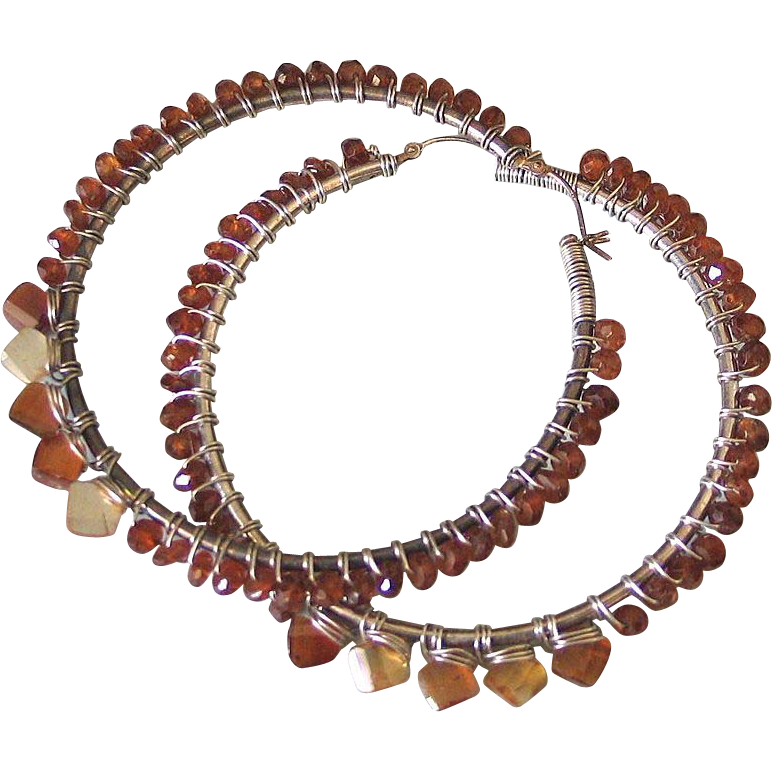 "Spiked Hessonite Hoops - Earthy Garnet Sterling Earrings  ""Sun Drop II"""