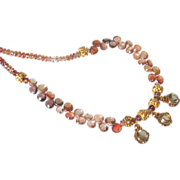 "Smoky Quartz & Brown Zircon 24k Gold Vermeil Necklace by Pilula Jula ""Brown Sugar Boogie"""