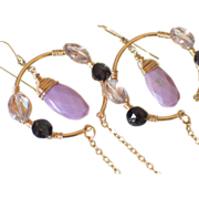 "Orchid Phosphosiderite & Pink Amethyst 14k Gold Hoop & Chain Earrings by Pilula Jula ""Sou"