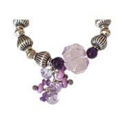 Pink Amethyst & Phosphosiderite Sterling Bracelet by Pilula Jula &quot;Floral Avalanche&quot;