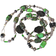 "Faustite & Chrome Diopside Body Necklace by Pilula Jula ""Memphis"""
