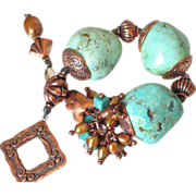 "Turquoise & Copper Bracelet by Pilula Jula ""Wrecking Ball"""