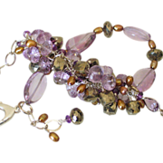 "Amethyst Pyrite & Cultured Pearl Cluster Bracelet by Pilula Jula ""Time Flies I"""