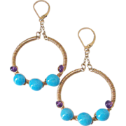 "Sleeping Beauty Turquoise & Amethyst 14k Gold Fill Earrings by Pilula Jula ""Drifter"""