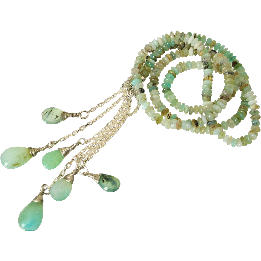 Peruvian Opal Lariat Necklace by Pilula Jula &quot;Slippery Slopes&quot;