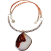 Mexican Fire Agate Pendant Necklace by Pilula Jula &quot;neko's song&quot;