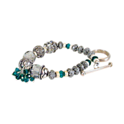 Emerald Green Swarovski Crystals & Sterling Bracelet by Pilula Jula - holiday -
