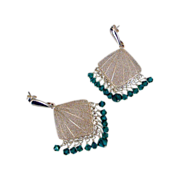 Emerald Green Swarovski Crystal Chandelier Earrings by Pilula Jula - holiday -