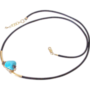 "Sleeping Beauty Turquoise & Diamond Drusy Leather Necklace by Pilula Jula ""pyramids"""