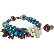 "Apatite Garnet & Boro Cluster Bracelet by Pilula Jula ""Right to Fall"""