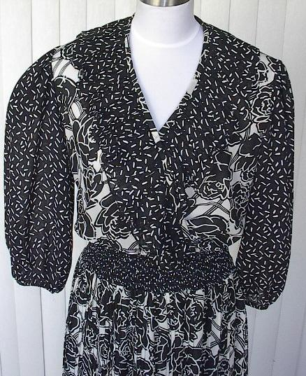 1980s Black &White Floral Garden Party Dress - Leslie Fay