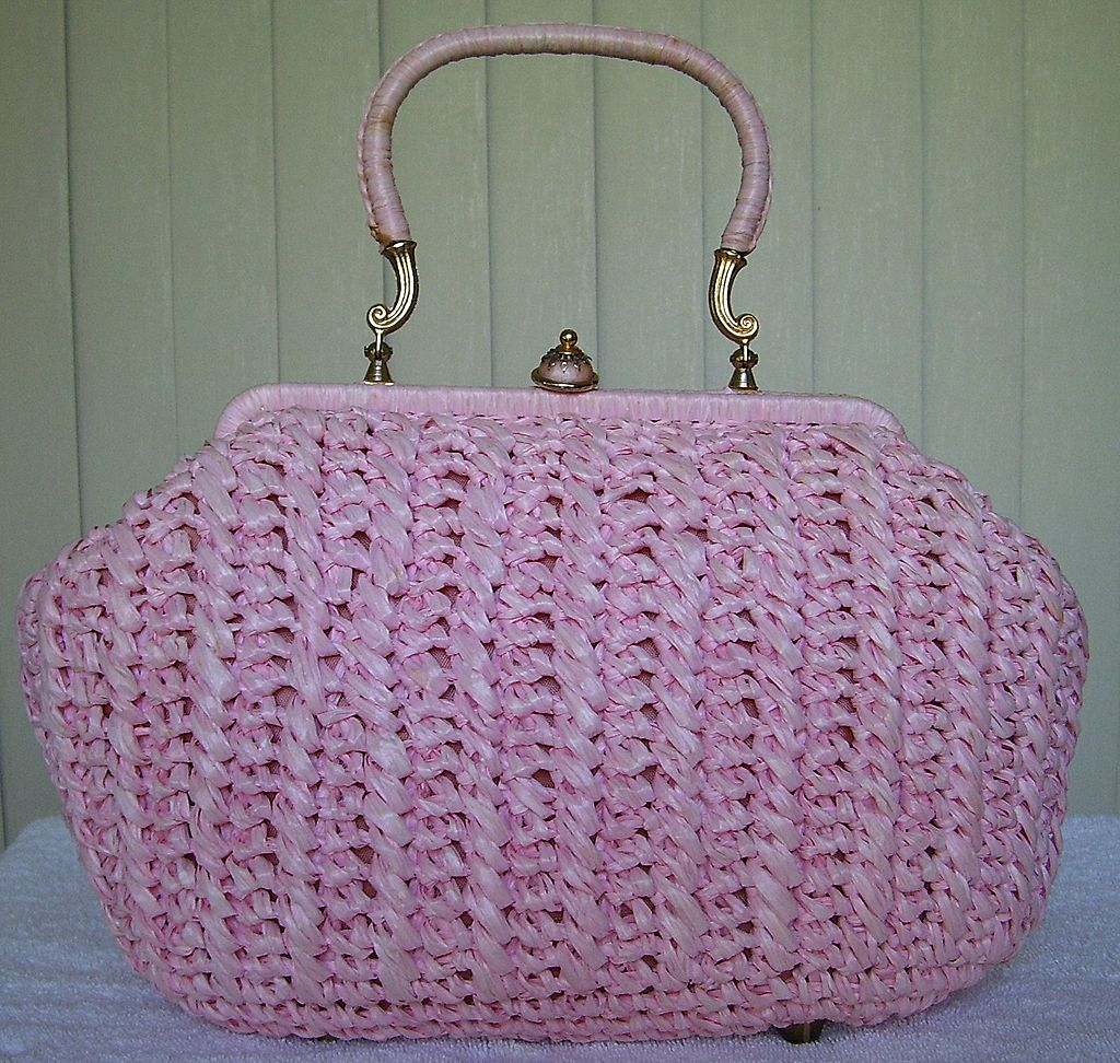 1960s Pink Raffia Handbag / Purse Made in Italy from pinkpoodlevintage on Ruby Lane
