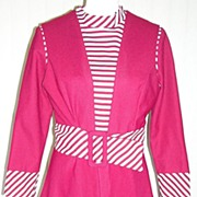 1970s Two Piece Red &White Striped Vest Dress