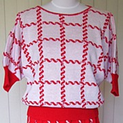 SALE 1980s Vintage Red & White Sweater & Matching Skirt