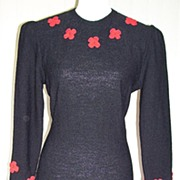 SALE 1980s Vintage Black Sweater Dress w/Crocheted Flowers