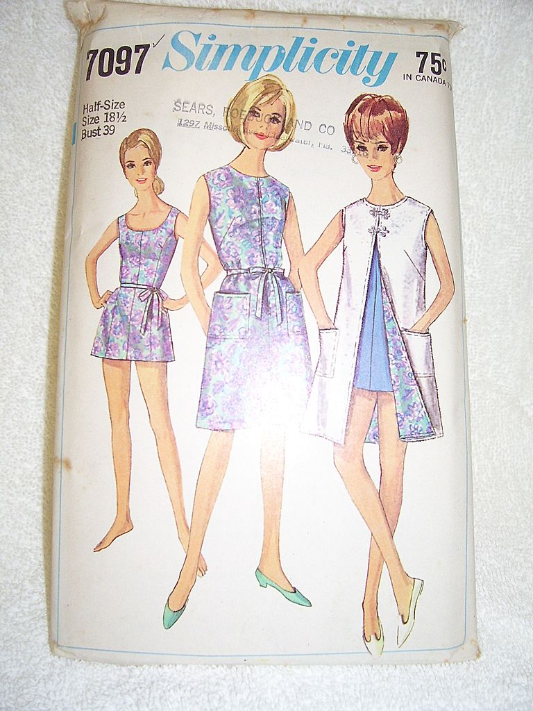 1967 Simplicity Dress or Beach Coat, Bathing Suit Pattern