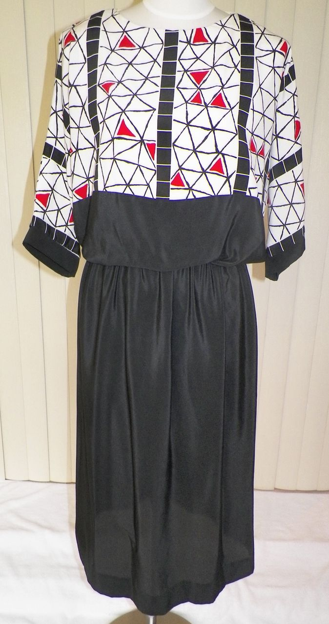 1980s Black and White Blouson Bodice Dress