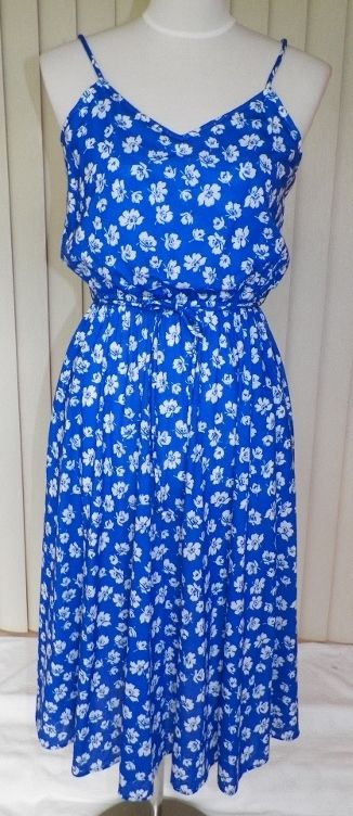 1970s Blue & White Sun Dress - Positive Attitude