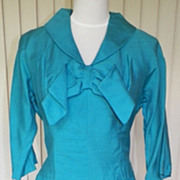 1950s Turquoise Cocktail Dress w/Large Bow