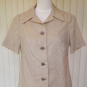 1960s Cream Blouse w/Petite Black Polka Dot Design