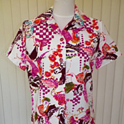 1970s Mod Bird Design Colorful Tunic Blouse