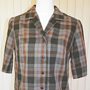 1950s/1960s Gray and Brown Plaid Blouse