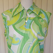 1970s Tunic Blouse w/Green and Blue Swirled Design