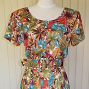 1980s Tropical Floral Print Sun Dress - Darian