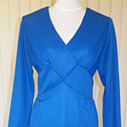 1970s Royal Blue Polyester Dress - Georgee Original