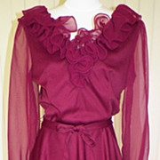 1970s Dark Maroon Party / Disco Dress - Bedford Fair