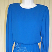 1980s Electric Blue Peplum Dress Semi Sheer