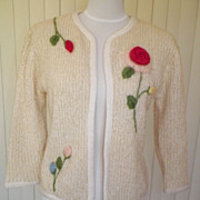 1950s / 1960s Ivory Knit Sweater w/3D Floral Design
