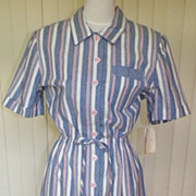 1980s Light Denim Blue & Pink Striped Sporty Dress - Sabino