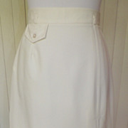 1970s Cream Polyester Skirt - Ky-Lee