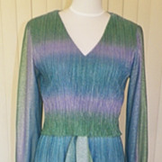 1970s Blue, Green and Purple Water Color Disco Dress