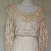 1970s Victorian / Edwardian Style Ivory Wedding Dress / Gown
