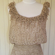 1980s Crocheted Look Light Tan Sun Dress w/Fringe