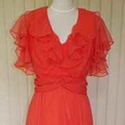 1970s Dark Coral Formal / Gown Flutter Sleeves