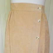 1979s Tan Faux Suede Wrap Skirt
