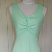 1970s Light Lime Green Maxi Dress / Formal - Sears