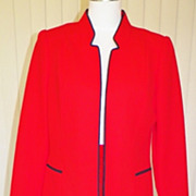 1970s Red Knit Skirt & Matching Jacket