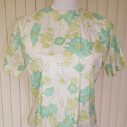 1960s Crop Top / Suit Blouse, Green & Blue Floral