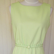 1970s Lime Green Summer Dress Day Dress