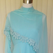 1960s / 1970s Light Blue Chiffon Cape Dress