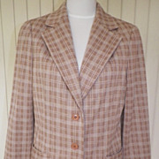 1970s Tan & White Striped Polyester Jacket - ACT III