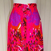 1960s / 1970s Bright Colorful Floral Hawaiian Maxi Skirt