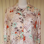 1970s Two Piece Blouse Set W/Rhinestone Buttons