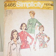 1974 Simplicity Pattern 6466 - Misses & Womens Top