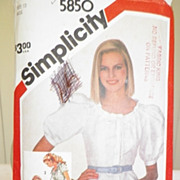 1982 Simplicity Pattern 5850 - Misses Fitted Blouse or Top